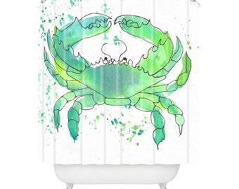 Seafoam Green Crab Shower Curtain