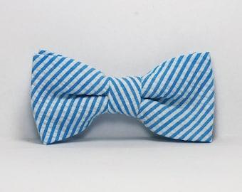 Turquoise Seersucker Little Boy's Bow Tie Bowtie Toddler Tie Ready To Ship