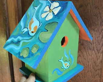 Birdhouse Indoor-Outdoor Handpainted Koi