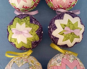 Quilted Ornaments - Pink/Green, Purple/White, Blue/Pink Spring Summer Easter