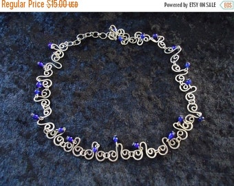 Now On Sale Vintage Silver & Blue Necklace Retro Collectible Costume Jewelry