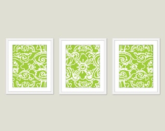 Abstract Flower Digital Print Set Fresh Green Wall Art Modern Home Decor Spring - Lace