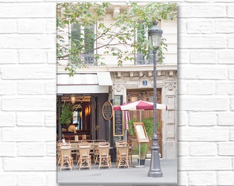 Paris Photography on Canvas - Le Parvis Cafe, Gallery Wrapped Canvas, Large Wall Art, Architectural Urban Home Decor