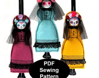 PDF Sewing Pattern, Day of the Dead Ornament Pattern, Felt Sugar Skull Ornament Template, DIY Day of the Dead Doll, Felt Ornament Pattern