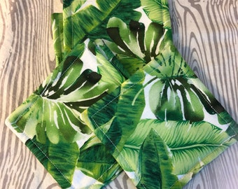 Fabric Cloth Coasters - Green Leaves Tropical - Housewarming Party - Mug Rug - Kitchen Linens - Drink Coasters - Home Decor