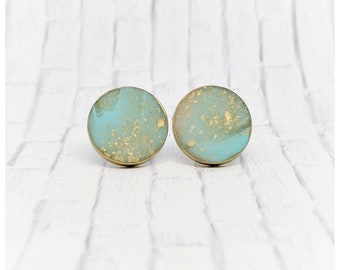 Turquoise and gold leaf earrings teal and gold earrings lightweight earrings stud earrings mom gift nickel free faux stone earrings