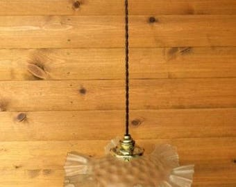 Vintage French ceiling pendant light with glass shade and twisted wiring (ref 203)