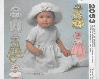 Infants' Dress, Rompers in Two Lengths with Snap Crotch, Panties and Hat McCall's Pattern 2053