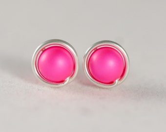 neon earrings stud products triangle studs candy pink jewel