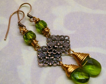 Green Briolette Glss and Copper Earrings 70 percent off sale was 15 now 4.50