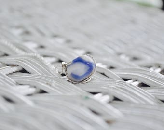 Sea Glass Marble Necklace: Cobalt Blue and White