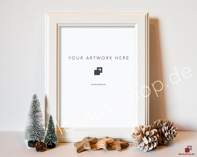 "CHRISTMAS MOCKUP FRAME white / 10x14"" / Christmas Trees with start and pinecone / Merry Christmas Mockup / Merry Xmas Frame Mockup"
