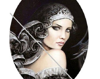 0.79 x 1.19 inch, cabochon pretty woman, goddess, fairy