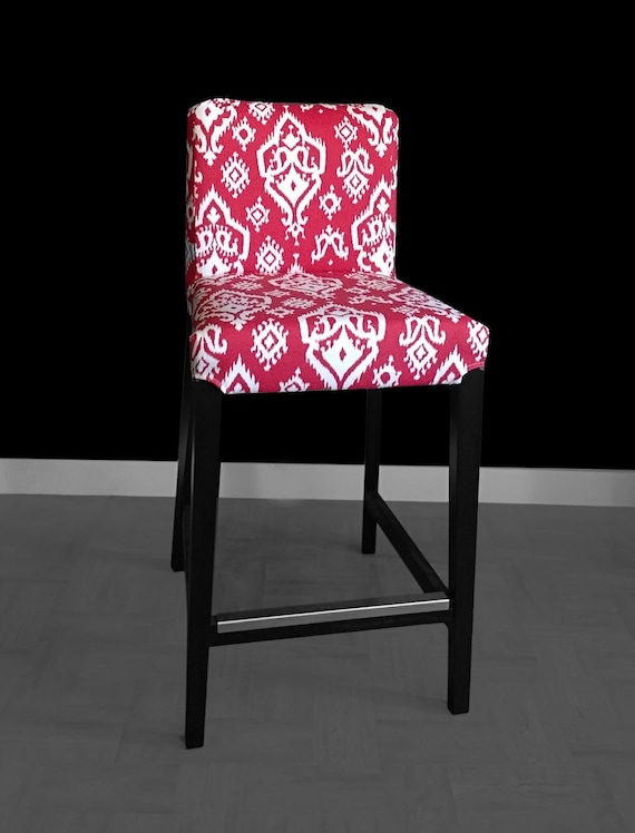 Ikea Henriksdal Red Ikat Bar Stool Chair Cover