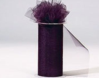 """6 inch x 100 yds """"Import"""" Nylon Tulle Roll - PLUM-Fall Special only 5.99 roll"""