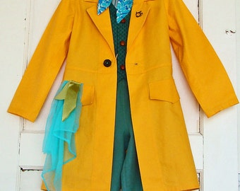 Mad Hatter Coat in Green Velvet OR Yellow-Gold Custom Made Costume for Mad Hatter Alice in Wonderland Party