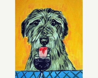 25% off Irish Wolfhound at the Wine Bar Dog Art Print
