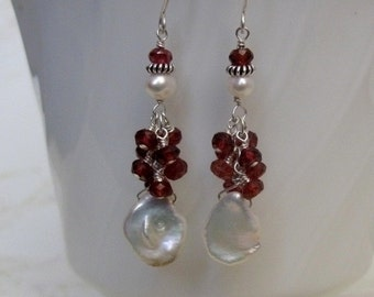 Pearl Garnet Earrings- Silver, Gemstone Cluster, Snowman Design
