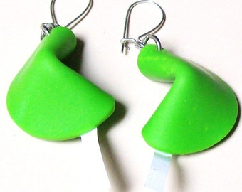 Free SHiPPING! Featured BLOG Item-FORTUNE COOKIE Earrings-Handmade-Lime Green-Polymer Clay