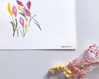 Card in watercolor: Spring flowers