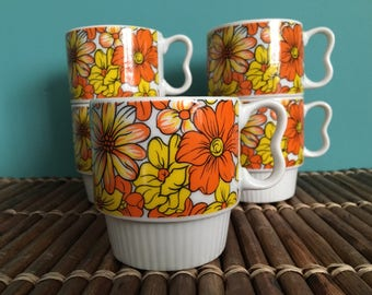 Coffee Cups • Vintage Mugs ~ Heart Handled Retro Fabulous Nesting Coffee Cups (set of 5)