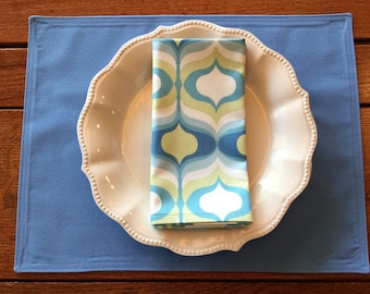 Set of Six Handmade Placemats & Napkins, Blue placemats, Waverly Hourglass napkins