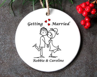 Engagement Ornament for Couple, Newly Engaged Ornament, Engagement Gift For Couple, Wedding Shower Gift, First Christmas Engaged