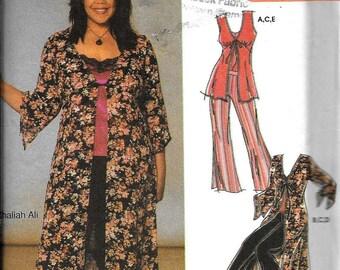 Simplicity 5075 Easy Khaliah Ali Kimono Jacket Duster Pants Top Camisole Sewing Pattern UNCUT Size 10, 12, 14, 16, 18