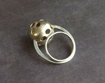 Sterling silver ball ring - statement ring -moon ring -geometric ring