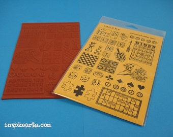 Game Pieces / Invoke Arts Collage Rubber Stamps / Unmounted Stamp Set