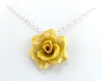 Yellow rose necklace etsy medium golden yellow rose pendant simple rose necklace yellow rose necklace bridesmaid mozeypictures Gallery