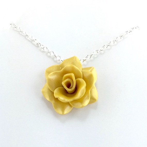 Medium golden yellow rose pendant simple rose necklace mozeypictures Gallery