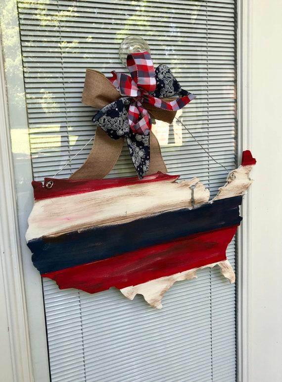 United States door hanger, USA sign, american door hanger, 4th of July door hanger, Patriotic Door Hanger, flag sign, july 4th, vintage
