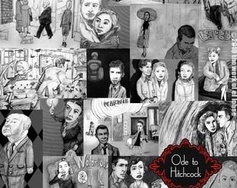 Ode to Hitchcock ...limited edition giclée print ... vertigo • birds • dial m • rebecca • rear window • movie • montage • spellbound • film
