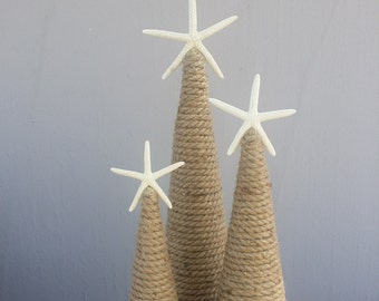 Nautical Rope Starfish Tree Natural Coastal Home Decor Christmas by the Sea Accents Topped w/ White Star Rustic Cottage Style Mantle Display