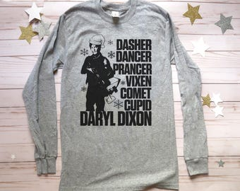 Daryl Dixon Walking Dead Longsleeve tshirt. Ugly Christmas Sweater.