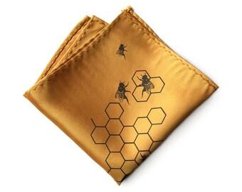 Honeycomb pocket square. Honeybee Hive screenprinted men's handkerchief. Choose mustard yellow & more. Beekeeping, apiary, farm gift.