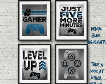 """SET OF FOUR Video Game Posters - Denim Blue - 8x10""""- A4 - Playstation Controller - PS4 - Gamer - Teen boy bedroom - game room wall art - PS4"""