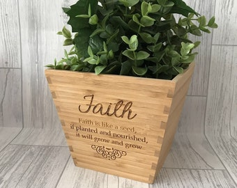 Personalised wooden engraved plant pot - faith pot - gift for her - gift for him