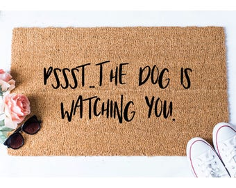 Dog is Watching You Doormat - Dog Doormat - Funny Doormat - Funny Doormats - Welcome Mat - Goldendoodle Doormat - Funny Mat - Quote Doormat