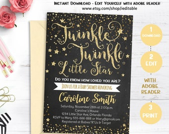 Twinkle Twinkle Little Star Baby Shower Invitation, Gender Neutral Invite, Twinkle Twinkle Shower Invite, Editable, INSTANT DOWNLOAD