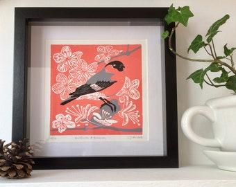 Bullfinch & Blossom Linocut