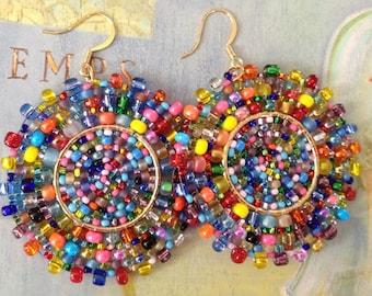 Beaded Earrings Confetti Splash Seed Bead Earrings Large Multicolored Disc Earrings