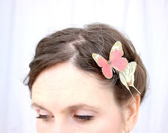 2 silk butterfly hair clips . your choice of butterflies . gifts for birthday, wedding, bridesmaids, parties, girls . costume . handmade