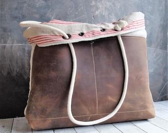 Grain sack  and leather tote bag antique grain sack