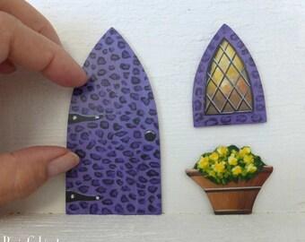 Set of Purple Leopard Door Window & Flower Pot Hand Painted Fairy Door Stained Glass Window Miniature Magic Door#126