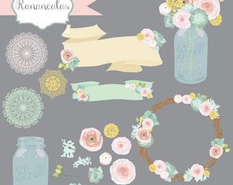 Instant Download - Pastel Ranunculus Flower Vectors: Digital Clipart Set