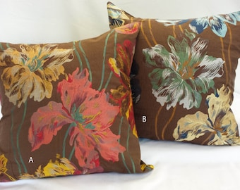 "SALE PRICE*****23""x23"" Tapestry Pillow Cover Rich Brown Background w/ Contrasting Big Scale Flowers"