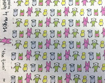 REMNANT Tiny Friends Animal Panda Owl Cat Bear The Tinies Kokka Japan Cotton Linen Canvas Japanese Fabric