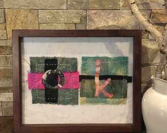 Letter K | Hand-stitched | Hand-dyed | Boho textile art | Letter patch